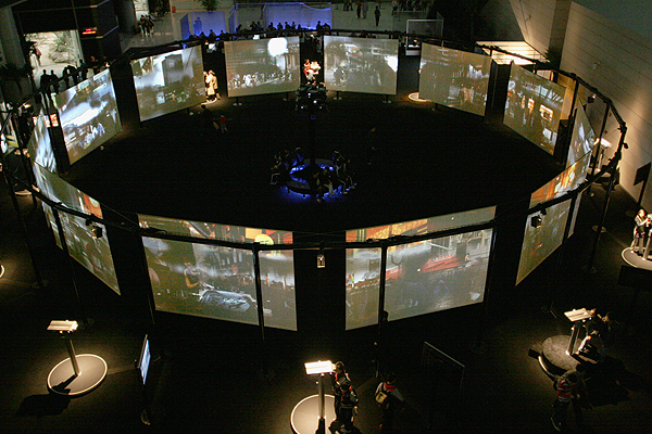 Networking Knowledge: Reframing Cinematic Space and Audience Practice in the Digital Age. Cosmopolis (2005) Maurice Benayoun's Giant Virtual Reality Interactive Installation, https://en.wikipedia.org/wiki/Maurice_Benayoun#/media/File:COSMOPOLIS.jpg, CC BY 3.0